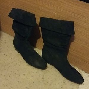 Black White Stag Faux Suede Boots 8.5